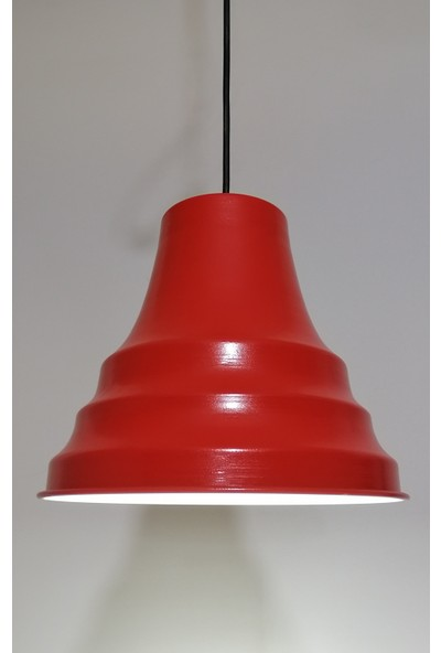 Riolight Retro Kırmızı Içi Beyaz Tekli Metal Sarkıt Çap: 23CM