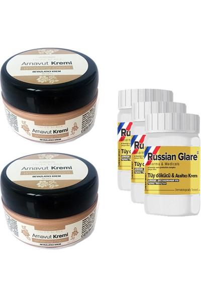 Three Brand Whitening Cream 50 ml Arnavut Kremi Aklık Kremi 2 Adet + Russıan Glare Tüy Dökücü Azaltıcı Merhem 50 ml 3 Adet