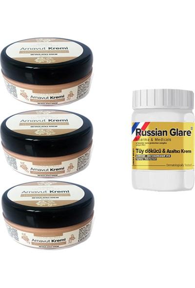 Three Brand Whitening Cream 50 ml Arnavut Kremi Aklık Kremi 3 Adet+ Russıan Glare Tüy Dökücü Azaltıcı Merhem 50 ml 1 Adet
