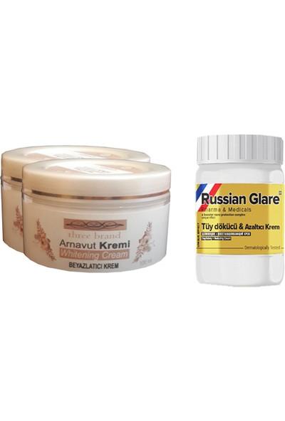 Three Brand Whitening Cream 100 ml Arnavut Kremi Aklık Kremi 2 Adet + Russıan Glare Tüy Dökücü Azaltıcı Merhem 50 ml