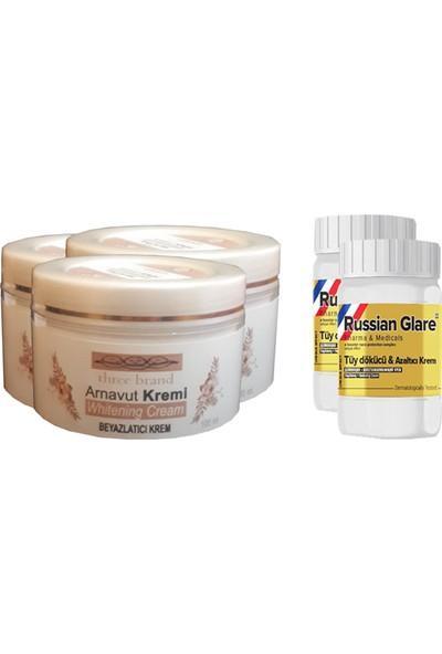 Three Brand Whitening Cream 100 ml Arnavut Kremi Aklık Kremi 3 Adet + Russıan Glare Tüy Dökücü Azaltıcı Merhem 50 ml 2 Adet