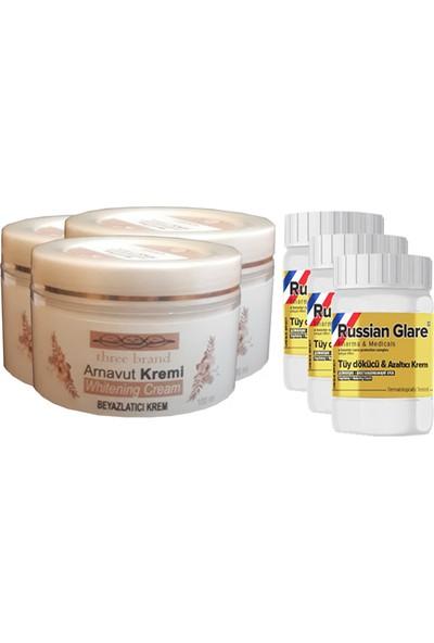 Three Brand Whitening Cream 100 ml Arnavut Kremi Aklık Kremi 3 Adet + Russıan Glare Tüy Dökücü Azaltıcı Merhem 50 ml 3 Adet