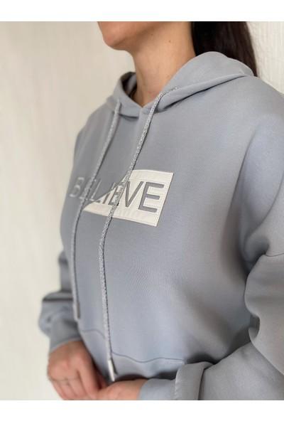 Ikoll Nakışlı Gri Sweatshirt