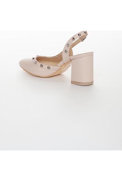 Zulu Kadın Bej Klasik Kalın Kısa Topuklu Yazlık Ayakkabı