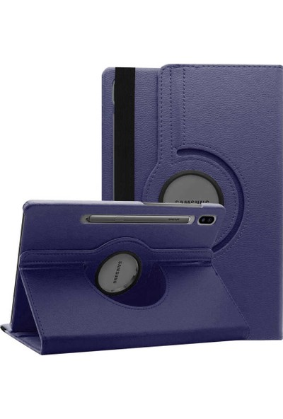Canpay Samsung Galaxy T970 Kılıf (Tab S7 Plus) Standlı Pu-Leather Desing Tablet Kılıfı Lacivert