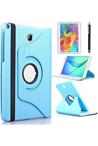 Canpay Samsung Galaxy T350 Kılıf Standlı Pu-Leather Desing Tablet Kılıfı+Cam+Kalem Mavi
