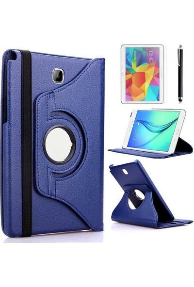 Canpay Samsung Galaxy T550 Kılıf Standlı Pu-Leather Desing Tablet Kılıfı+Cam+Kalem Lacivert