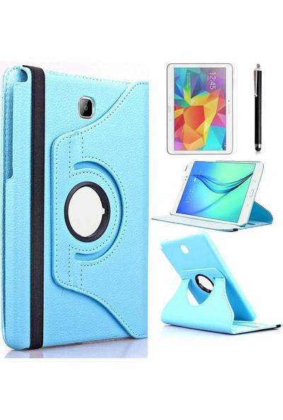 Canpay Samsung Galaxy T550 Kılıf Standlı Pu-Leather Desing Tablet Kılıfı+Cam+Kalem Mavi