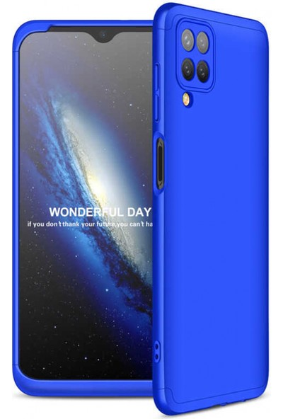 Kilifplus Samsung Galaxy A12 Kılıf 3 Parçalı 360 Tam Korumalı Rubber Ays Kapak Mavi