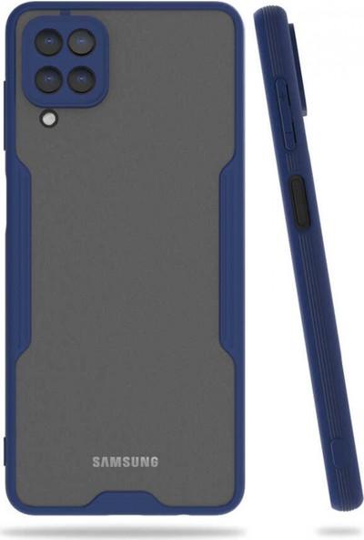 Kilifplus Samsung Galaxy A12 Kılıf Kamera Lens Korumalı Arkası Şeffaf Silikon Kapak Lacivert