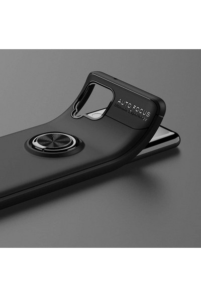 Kilifplus Samsung Galaxy A12 Kılıf Auto Focus Serisi Soft Premium Standlı Yüzüklü Kapak Rose Gold Siyah