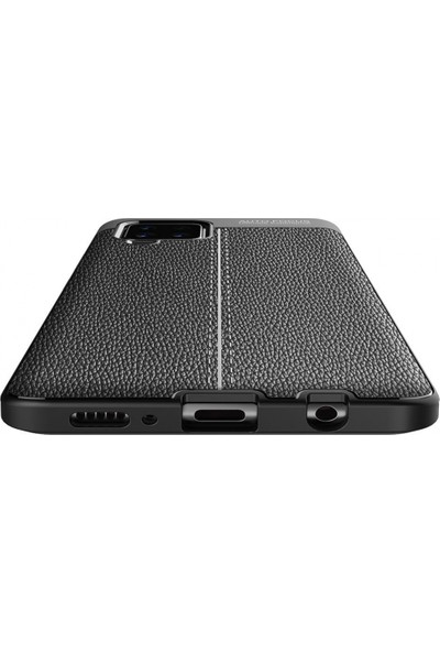 Kilifplus Samsung Galaxy A12 Kılıf Deri Görünümlü Parmak Izi Bırakmaz Niss Silikon Lacivert