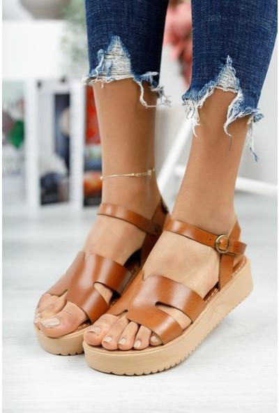 Muggo MGHELEN02 Hakiki Deri Kadın Dolgu Topuk Sandalet