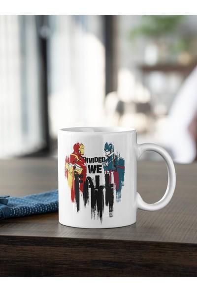Kio Tasarım Iron Man ve Kaptan Amerika Marvel Karakterleri Baskılı Kupa Beyaz Porselen Mug