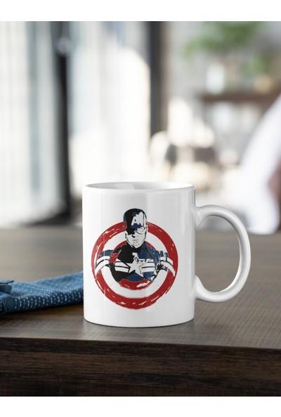 Kio Tasarım Kaptan Amerika Silüeti Logo Baskılı Kupa Beyaz Porselen Mug