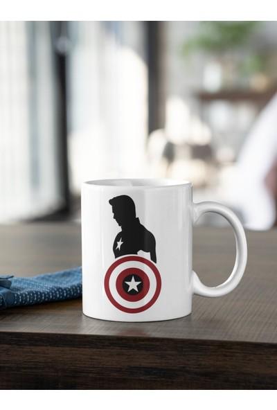 Kio Tasarım Marvel Kaptan Amerika Kalkan ve Karakter Silüet Baskılı Kupa Beyaz Porselen Mug