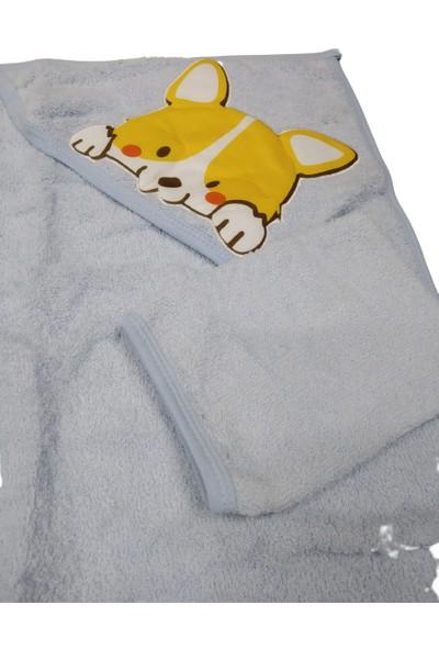Kids Buude Nakışlı Kapşonlu Keseli Bebek Banyo Havlusu Silgisi