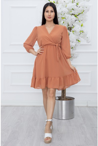 Kalopya Kadın Kruvaze Yaka Tül Detay Şifon Elbise 202405
