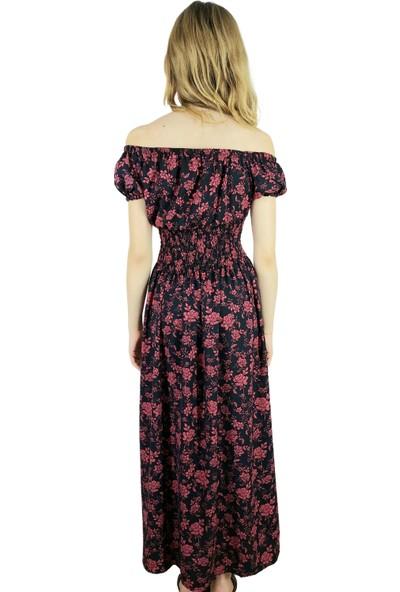 Modern Giyin Çiçekli Madonna Yaka Gipeli Kadın Uzun Elbise