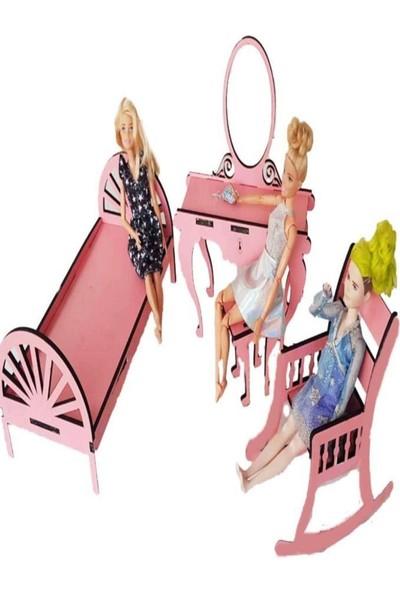 Woody Life Barbie Baby Uyumlu Mutfak Oturma Odası ve Yatak Odası Oyuncak Ev