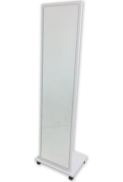 Dekorbizden Tekerlekli Boy Aynası Beyaz