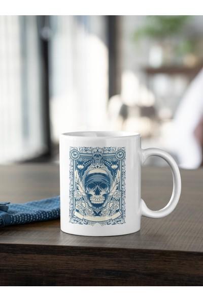 Kio Tasarım Kurukafa Gül Baskılı Kupa Beyaz Porselen Mug