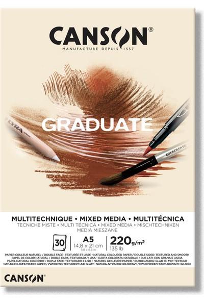Canson Graduate Mi x Ed Media Çok Amaçlı Çizim Defteri Natural 220 gr A5 30 Sayfa