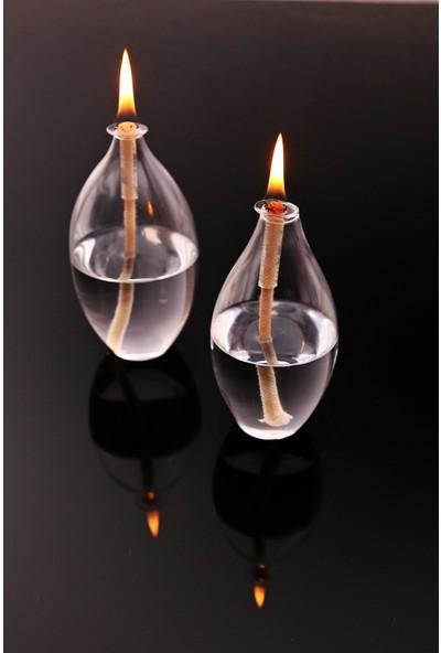Vetroce Fıçı Cam Kandil 2'li Set + Kandil Yağı