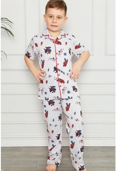 Pija Kids Erkek Çocuk Önden Düğmeli Dijital Baskılı Pijama Takımı
