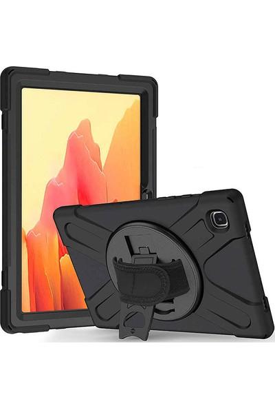 "Moserini Samsung Galaxy Tab A7 T500 - T507 10.4"" Tank Görünümlü Defender Stantlı Askılı Siyah Tablet Kılıfı + Cam Set"