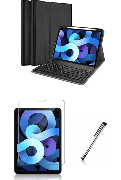 """Moserini Apple iPad Air 4. Nesil 10.9"""" Klavyeli Smart Tablet Kılıfı Mıknatıslı Kalemlikli - Siyah + Cam Ekran Koruyucu + Kalem Set"""