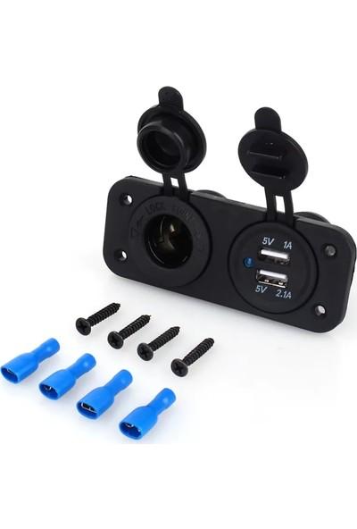 Autoline Çift USB Araç Şarj Soketi ve Çakmaklık 2.1A/1A - 12 V
