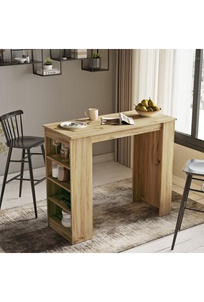 Robin Home Thales Bar Masası Mutfak Yemek Masası Açık Kahve