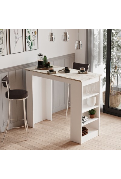 Robin Home Thales Bar Masası Mutfak Yemek Masası Mermer-Beyaz