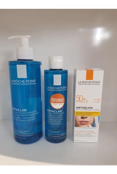 La Roche-Posay Effaclar Gel 400 ml + Effaclar Lotıon 200 ml + Anthelıos Antı - Imperfectıons