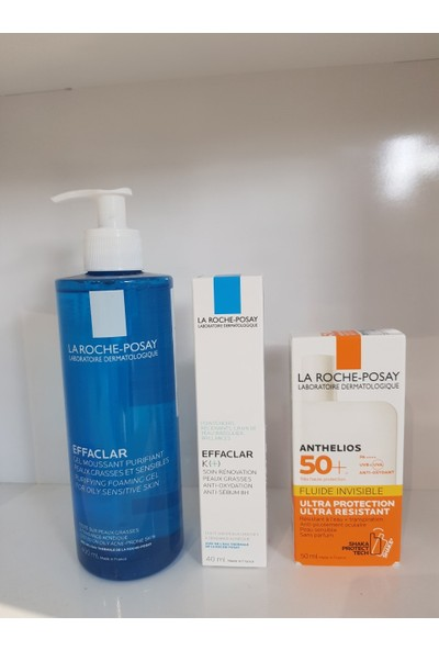 La Roche-Posay Effaclar Gel 400 ml + Effaclar K 40 ml +Anthelıos Invısıble Fluıd 50 ml