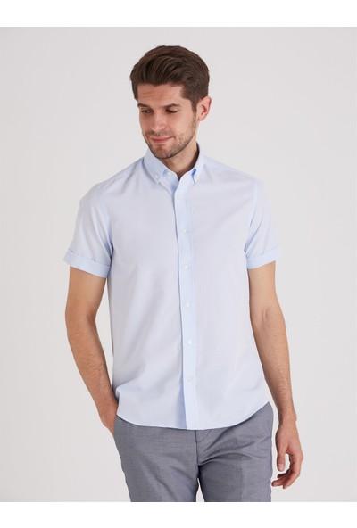 Dufy A.mavi Jakar Kısa Kol Pamuklu Karışımlı Erkek Gömlek - Regular Fıt