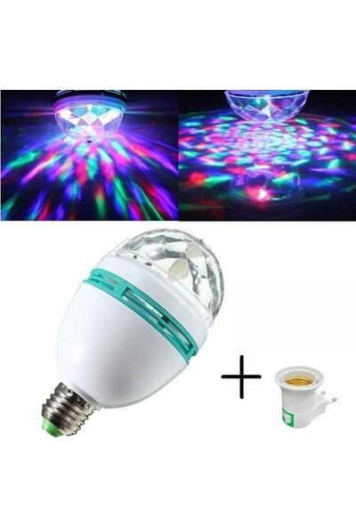 Shavers E27 Renkli LED Döner Başlıklı Disko Topu Ampul 3 W
