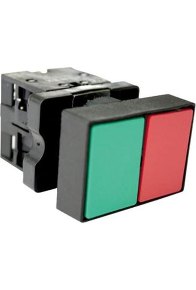 El-Max 22MM Ikiz Plastik Buton 1no+1nc Kontaklı Kırmızı - Yeşil