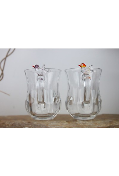 Adamodart Kuş Figürlü Çay Bardağı 2'li Set