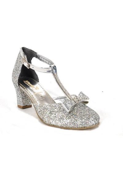 Ustalar Ayakkabı Çanta Gümüş Kız Çocuk Abiye Topuklu Ayakkabı 458.51-K