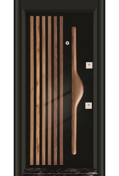 Mono Çelik Kapı MN-1008 Sol Siyah Kasa Pvc Kabartma Klapalı Kol