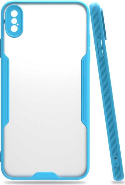 Nezih Case Apple Iphone Xs Max Uyumlu Kamera Korumalı Kenarları Renkli Arkası Mat Silikon Kılıf Mavi