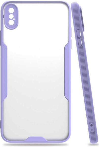 Nezih Case Apple Iphone Xs Max Uyumlu Kamera Korumalı Kenarları Renkli Arkası Mat Silikon Kılıf Mor