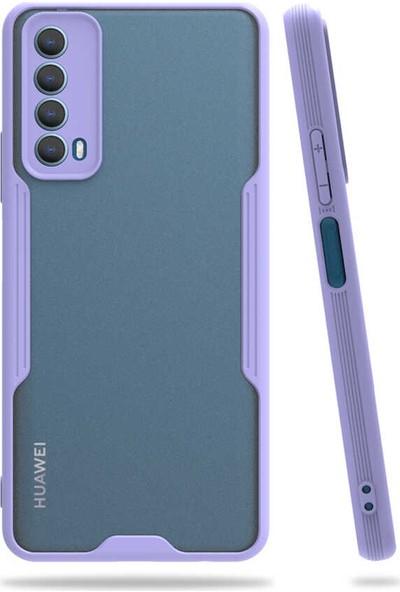Nezih Case Huawei P Smart 2021 Uyumlu Kamera Korumalı Kenarları Renkli Arkası Mat Silikon Kılıf Mor