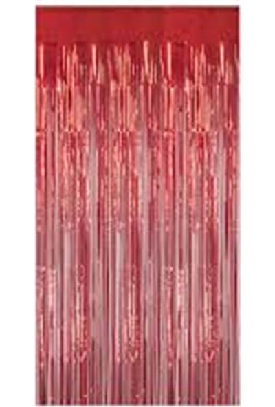 Alife Metalize Arka Fon Perde Kırmızı Renk