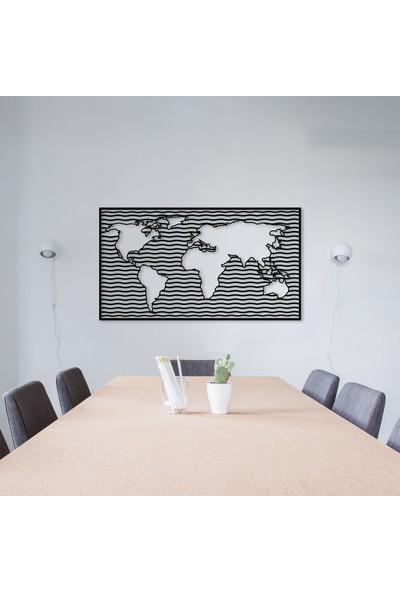 Bafidica Metal Tablo - Wavy World Ofis Dekoru Metal Dünya Haritası