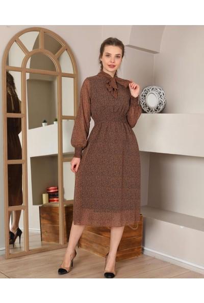 Banuhan Yaka Bağlamalı Bel Gipeli Şifon Elbise