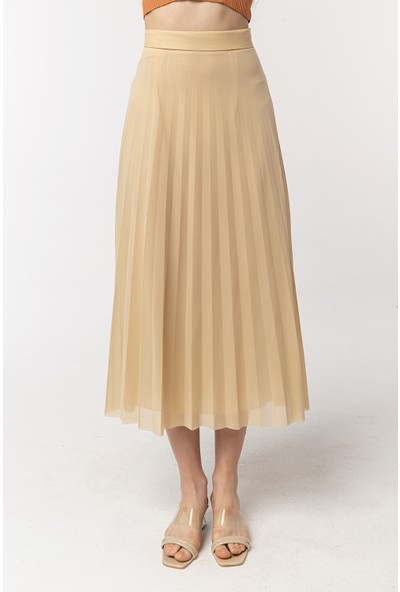 Coral Tulle Skirt Camel