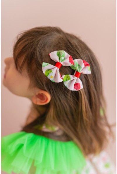 Pixy Love Pudra Kız Çocuk 2'li Klips Fiyonk Strawberry